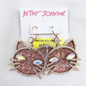 Betsey Johnson Rose Gold Cat Earrings